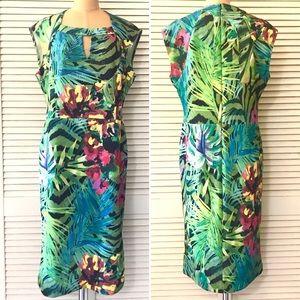 ECI Dress Midi Floral Tropical Ponte Cap Sleeve